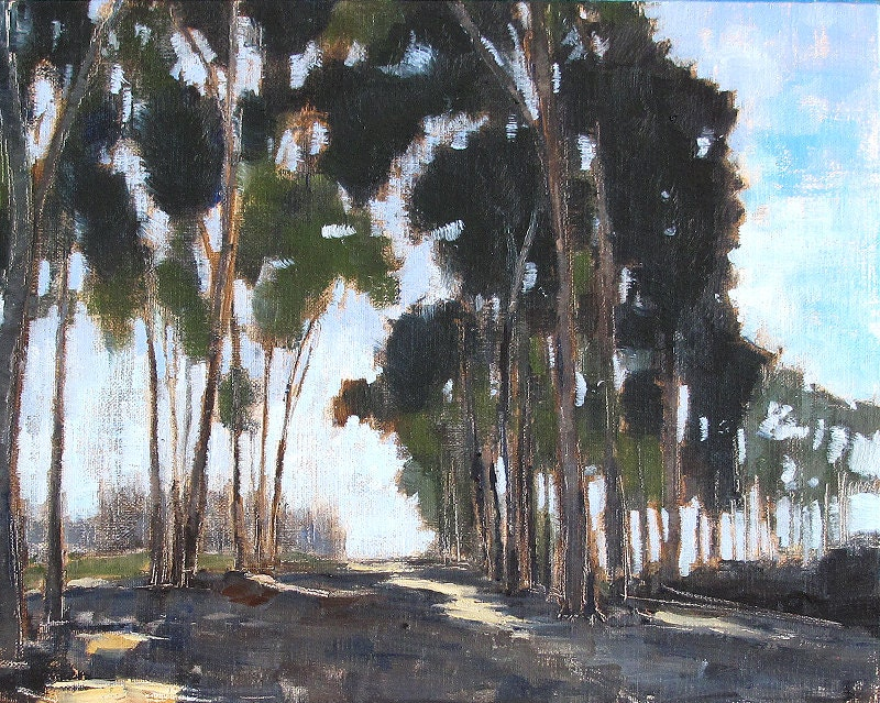 San Diego Landscape Painting, Eucalyptus Trees in Balboa Park