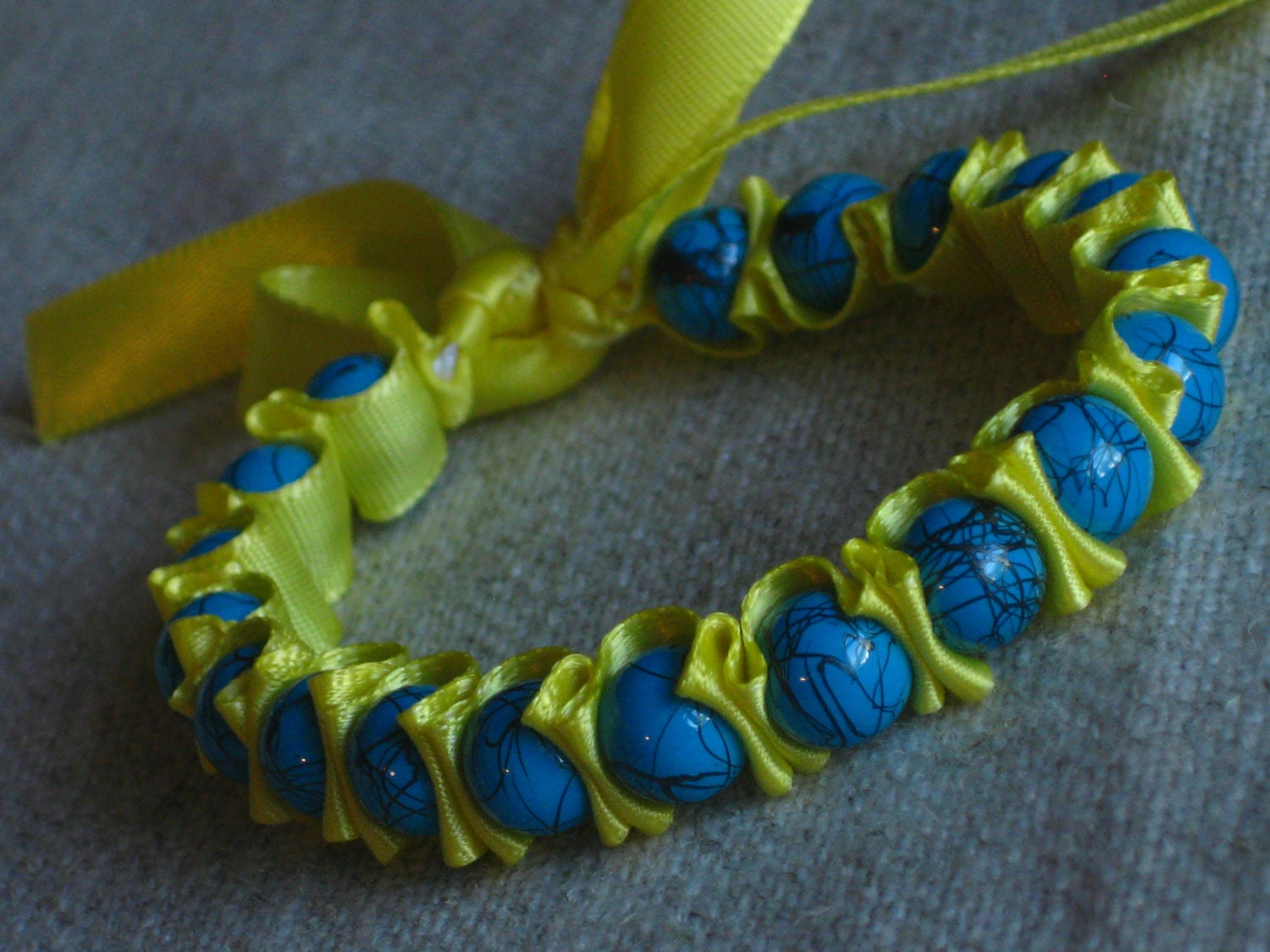 Ribbon Wrap Bracelet Blue and Yellow