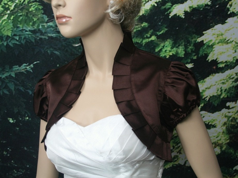 Brown short sleeve satin wedding bolero jacket shrug