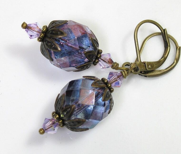 Vintage Style Amethyst Luster Czech Glass Earrings