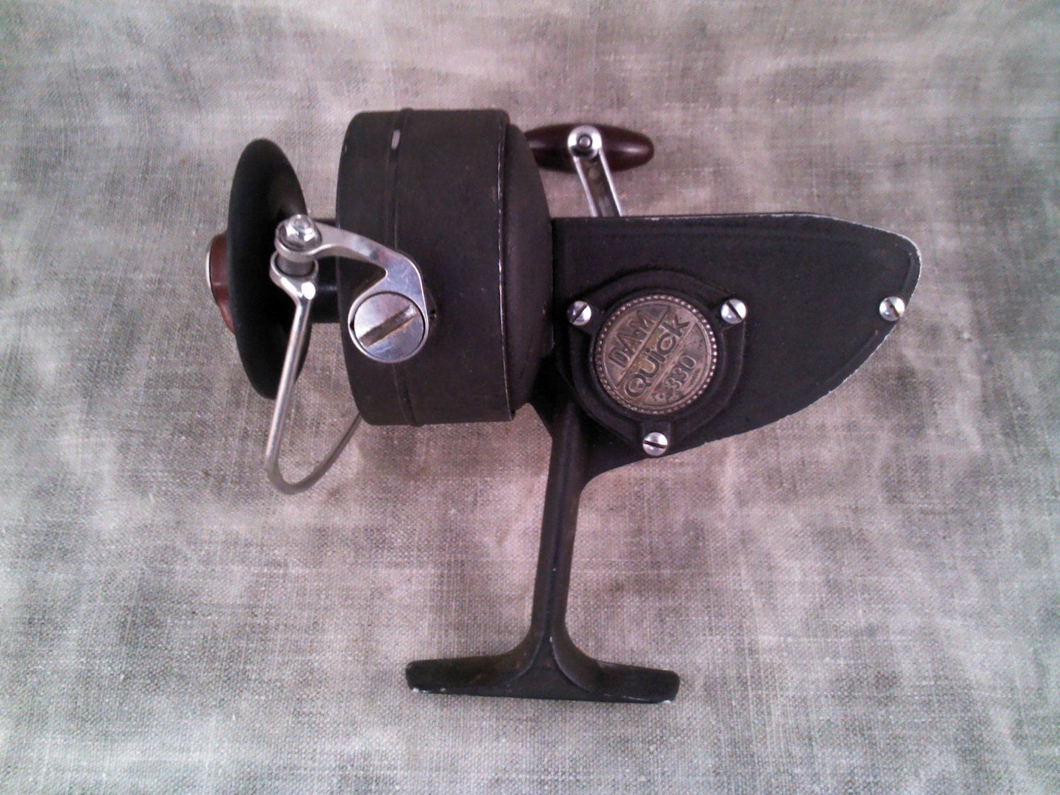 vintage dam quick 330 spinning reel by ptmacmercantile on etsy. Black Bedroom Furniture Sets. Home Design Ideas