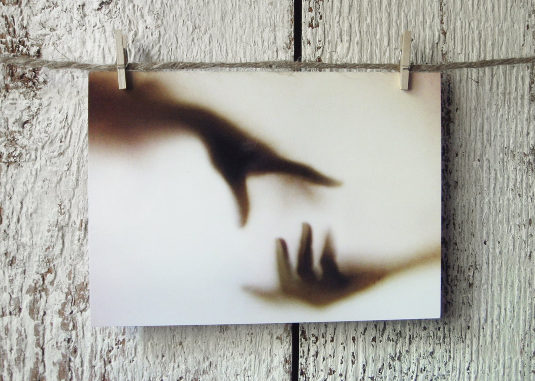 Reach - 4x6 Photo Postcard - Hands Reaching In the Fog - Ghostly Shadows - Surreal Art Photography - lightplusink