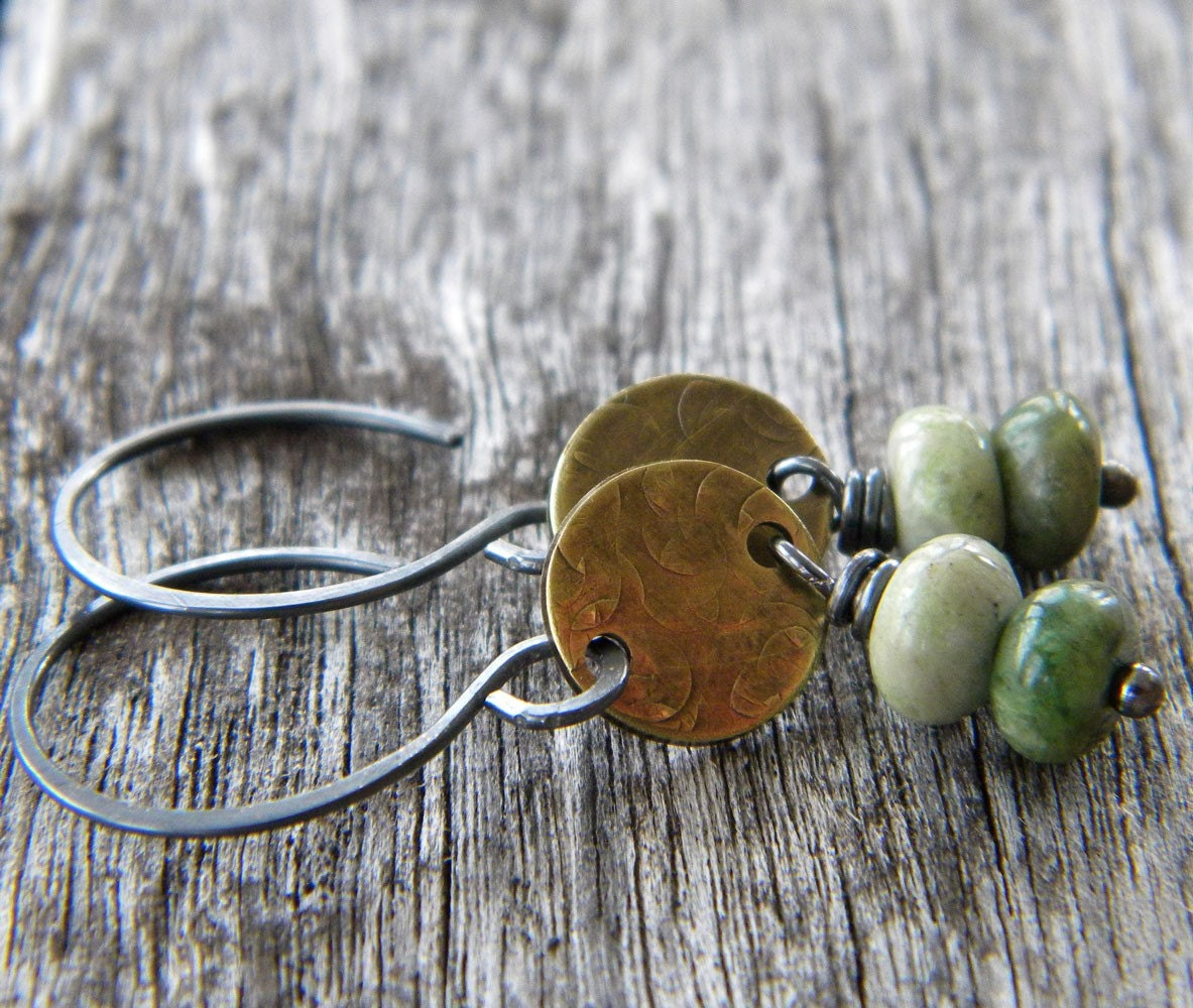 Green Opal Gemstone Rondelle - Antiqued Brass - Blackened Sterling Silver Earrings