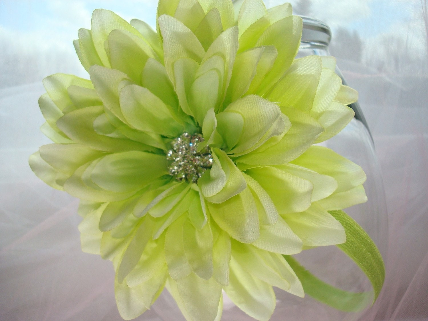 New: Portrait Perfect Soft Pale Lime Dahlia Embellished with Rhinestone Cluster (Detachable) and Lime Green Stretch Ribbon Headband / Fits 10 Months to Adults