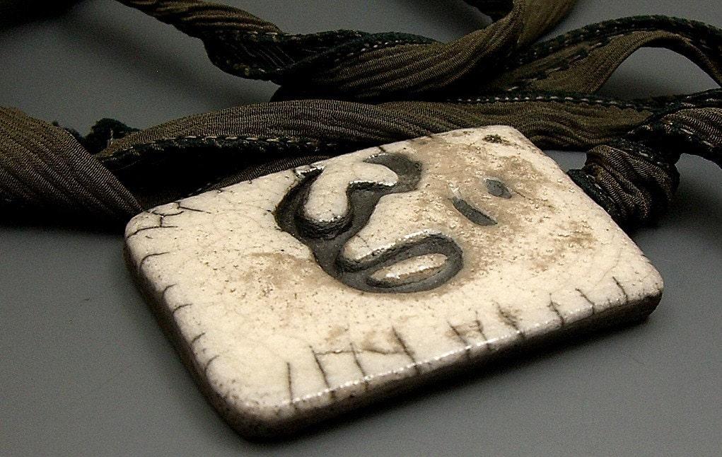 Ohm White Crackle Raku Pendant Raku Ceramic Jewelry by MAKUstudio