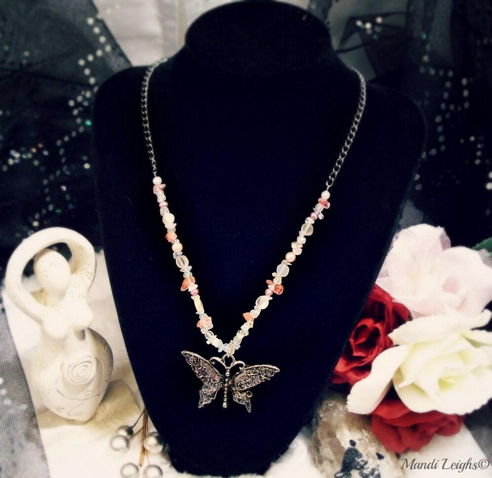 Secret of the Butterfly Gemstone Necklace