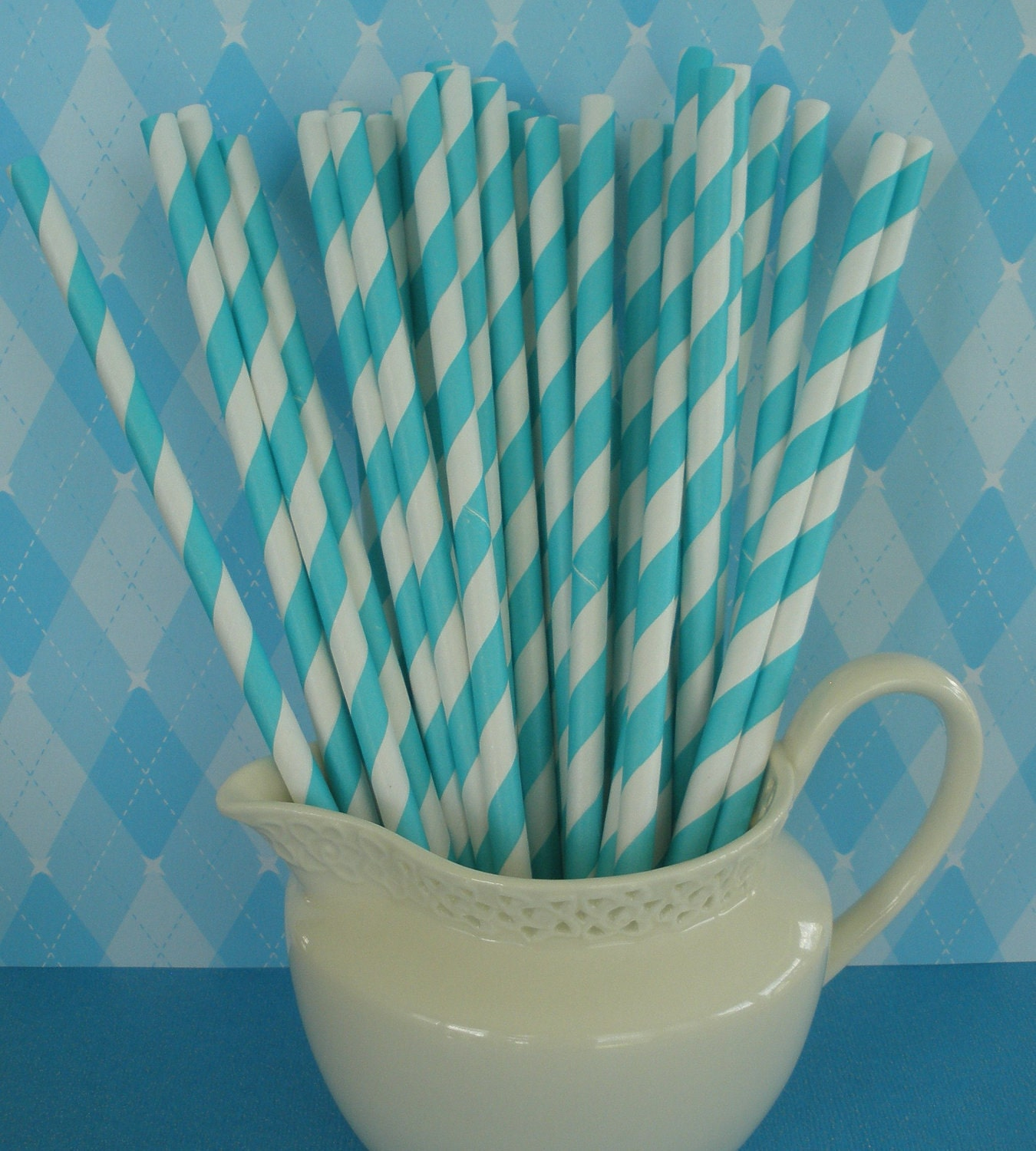 75 Aqua Striped Paper Straws w/ FREE DIY Printable Tags, Retro, Barber Striped