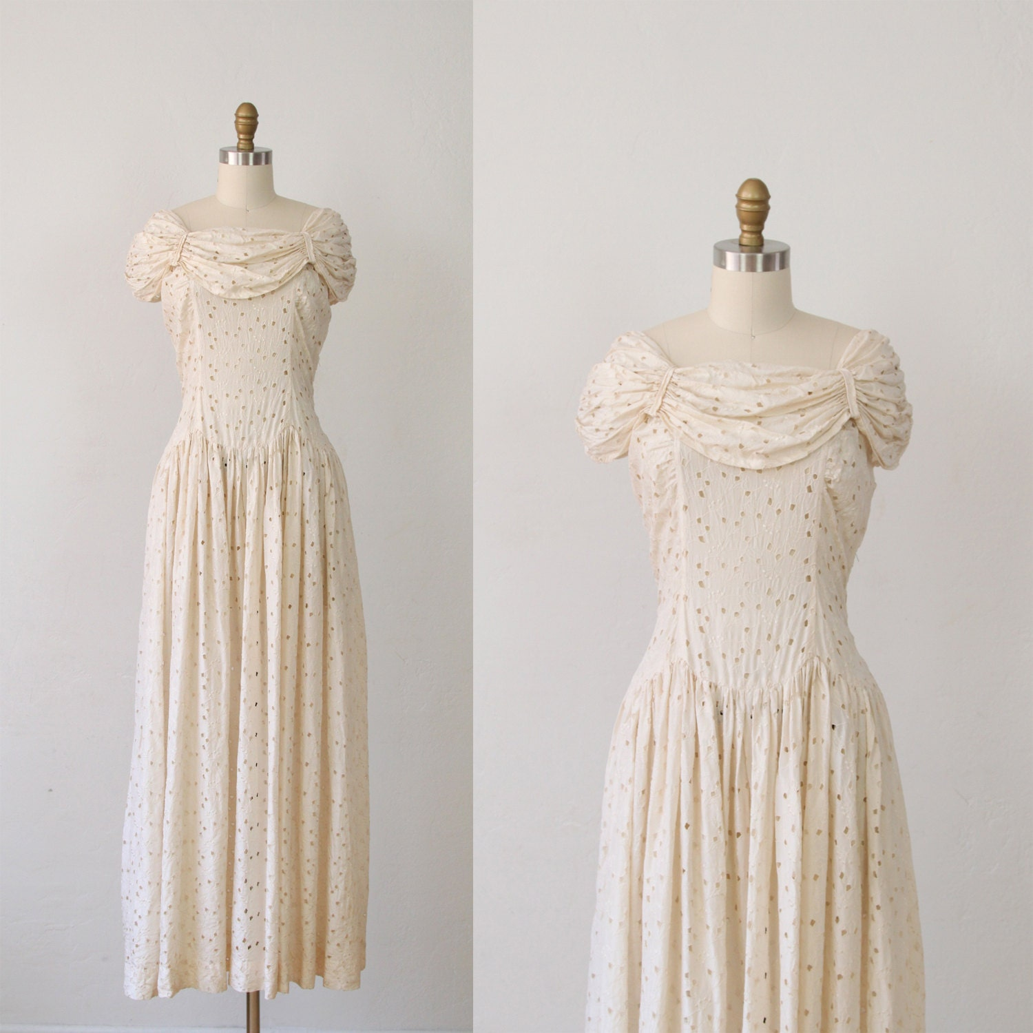 Cream wedding dress eyelet 1940 39 s vintage m by salvagelife for Vintage 1940s wedding dresses
