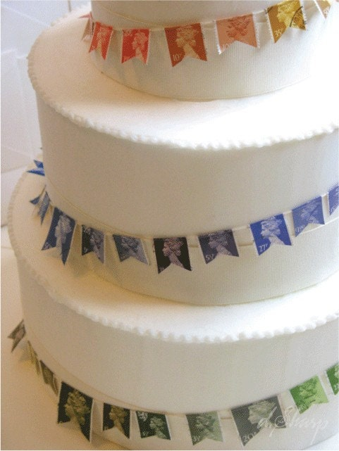 Postage stamp cake bunting from D Sharp