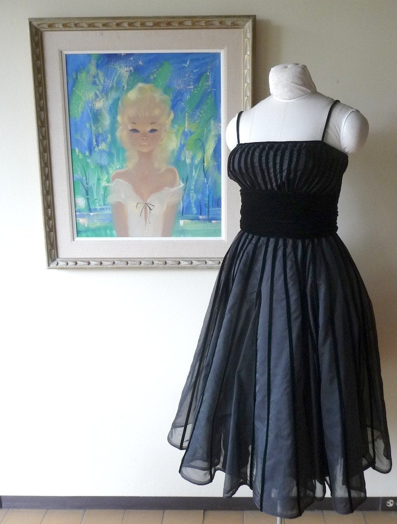 1950s Rappi Black Velvet Striped Party Cocktail Dress