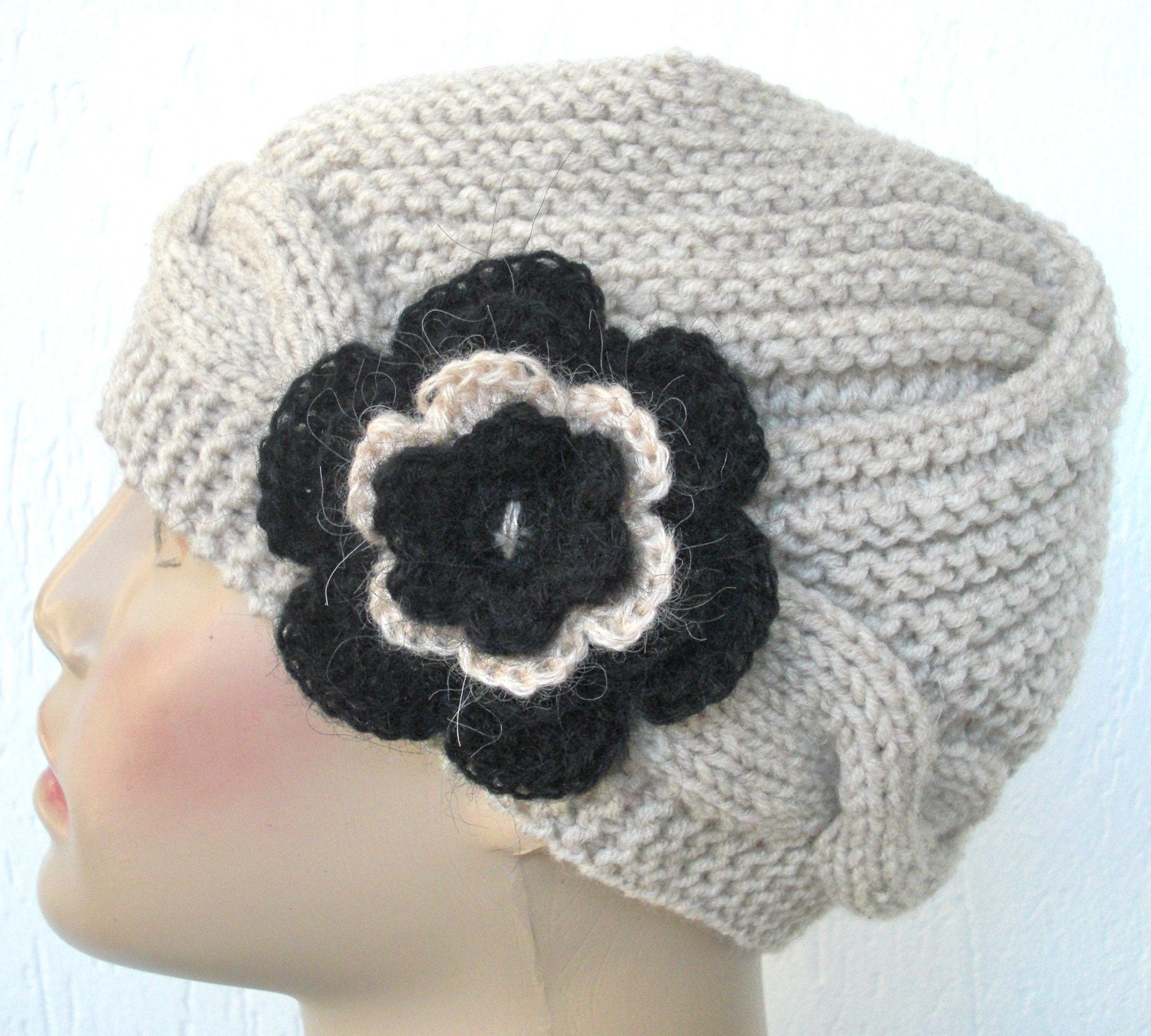 Beige  Hand Knit  HatWinter Accessories By by Ebruk on Etsy from etsy.com