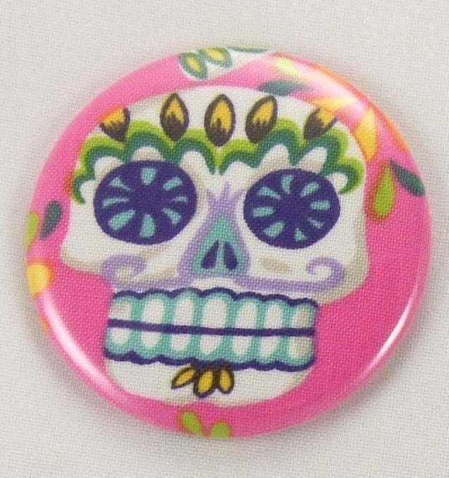 Pocket mirror pink sugar skull fabric covered pocket mirror