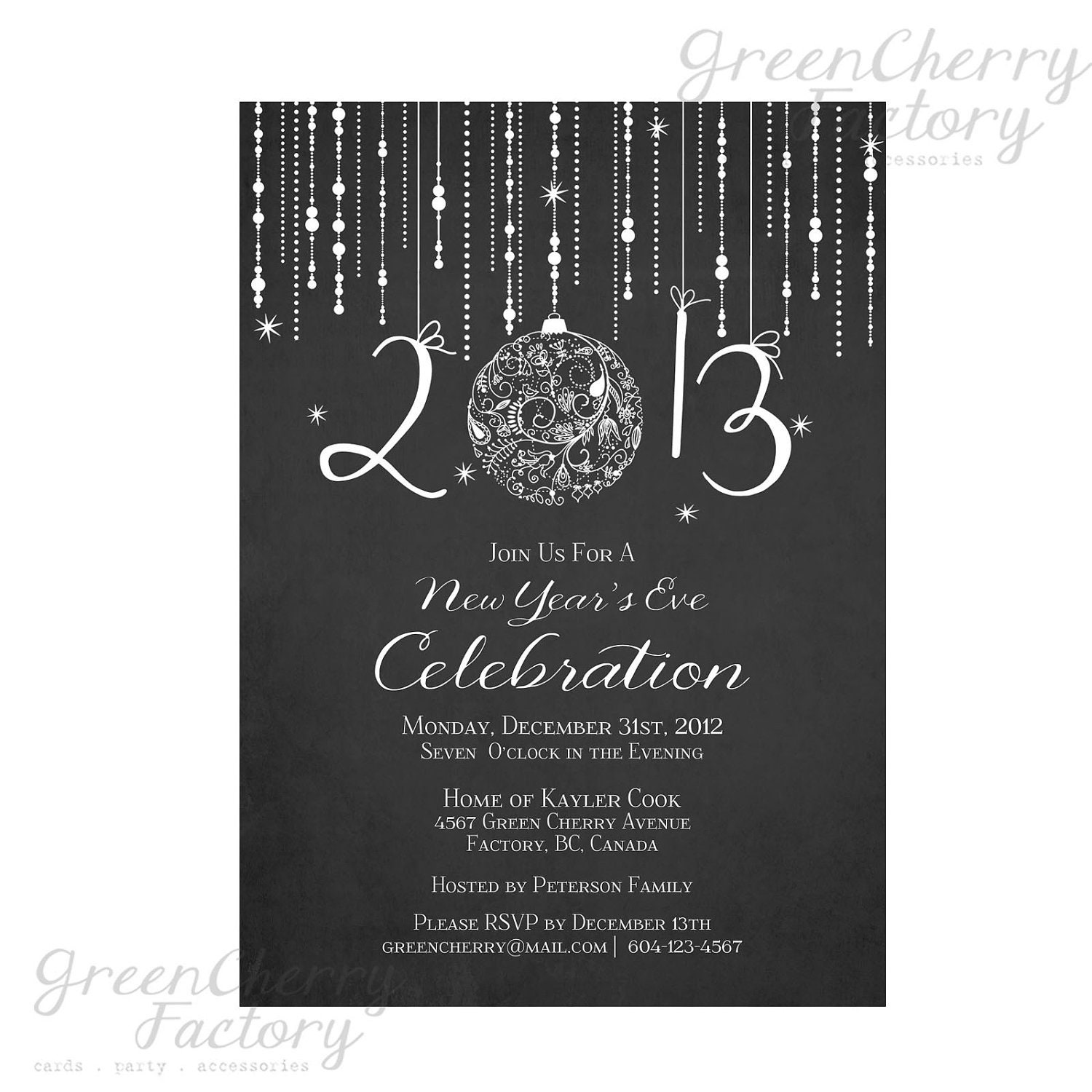 Printable Chalkboard New Year Invitation - Elegant New Year's Eve Invite - Digital New Year Invitation - No.251