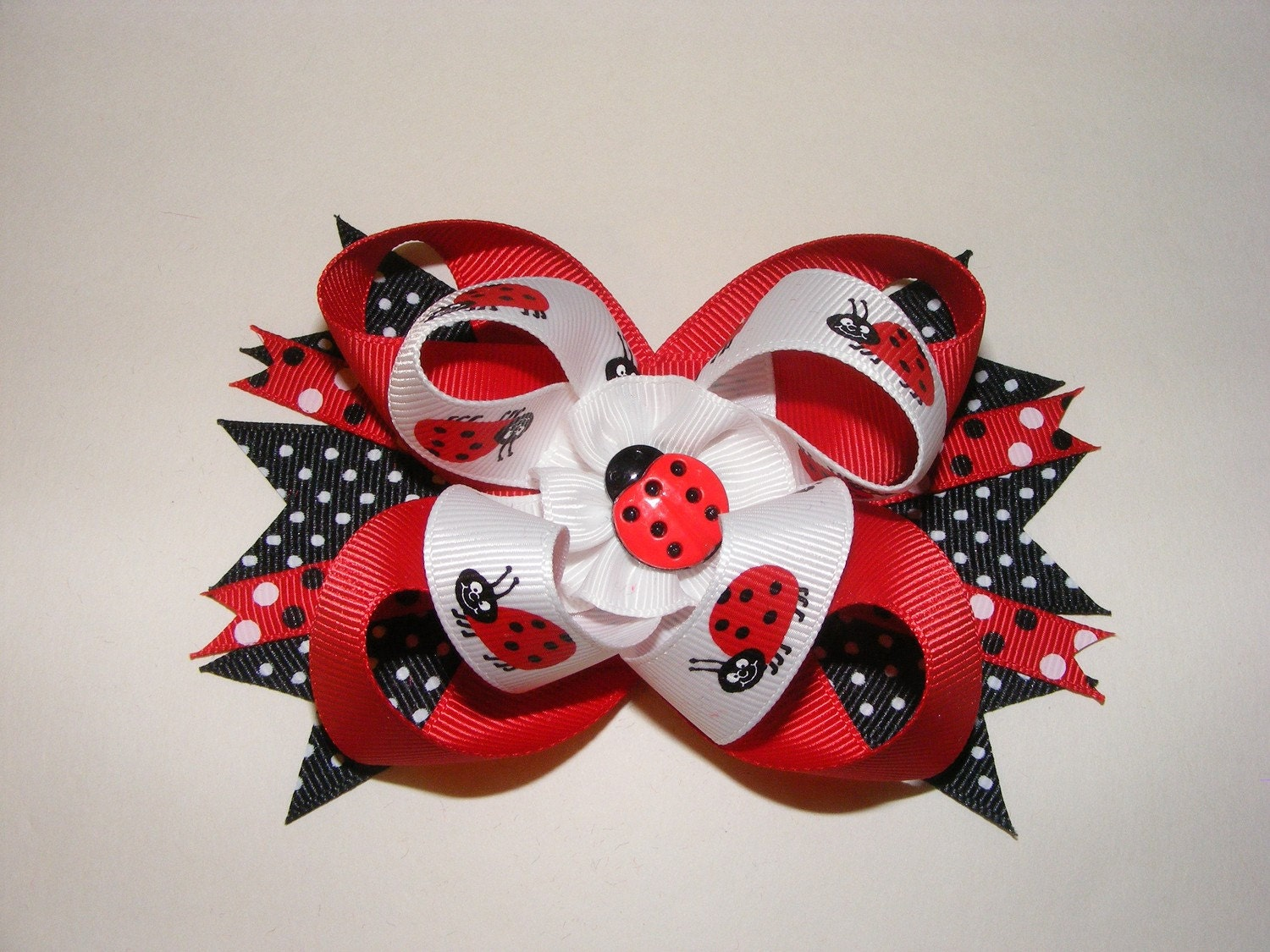 Red, White, and Black Grosgrain Ribbons Lady Bugs Hair Bow