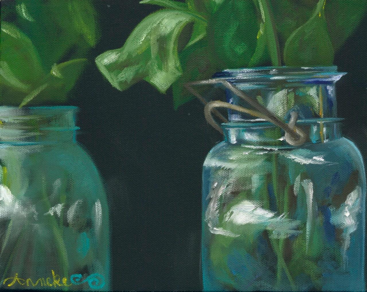 Emerald & Aqua Jars - Print