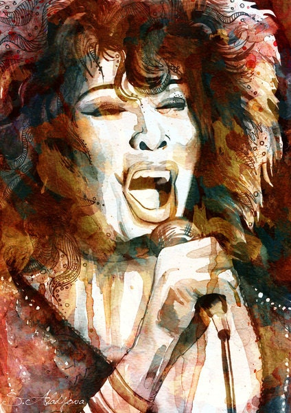 "Tina Turner watercolor  painting print 8"" x 12""  Celebrity Portraits"