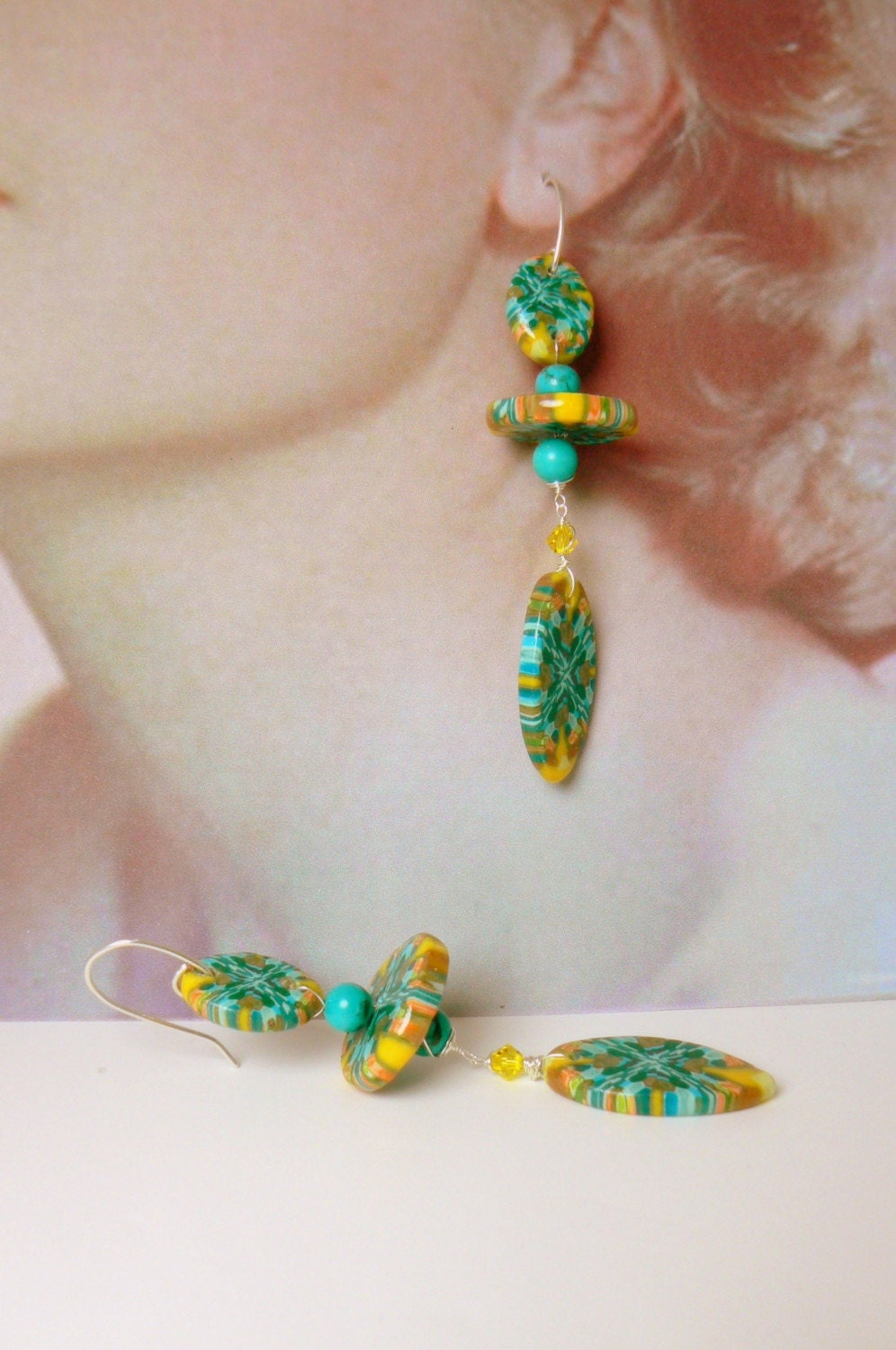 Whimsical Wearable art earrings w genuine Turquoise and Swarovski crystals from etsy.com