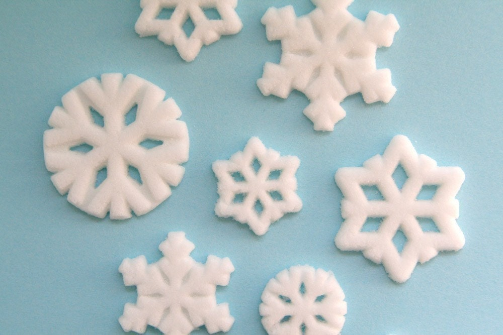 snowflake Edible Sugar Decorations to Decorate Cupcakes and Cakes (12)