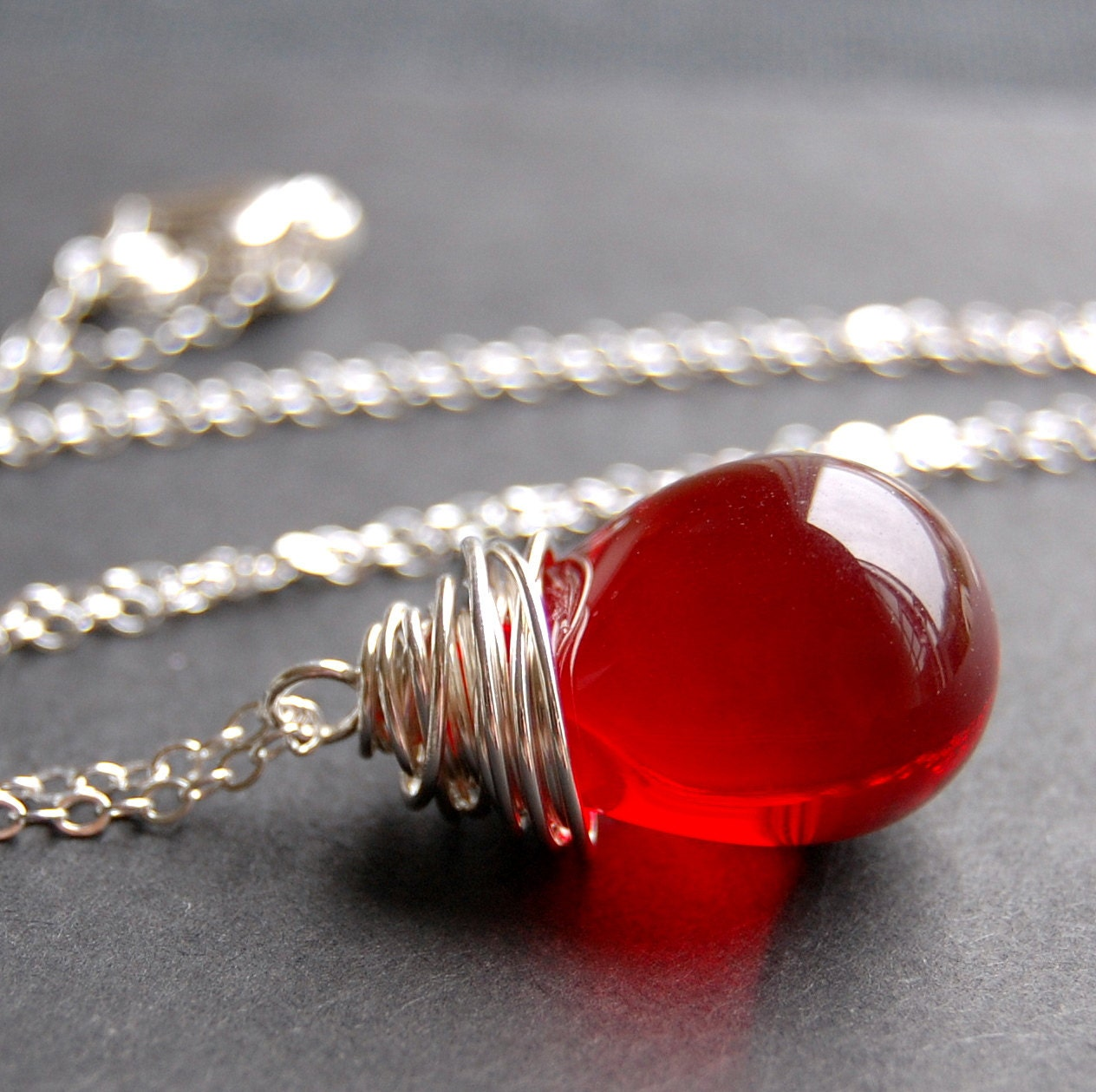 Pendant Necklace Handcrafted of Red Smooth Glass Wire Wrapped Teardrop on Sterling Silver Cable Chain