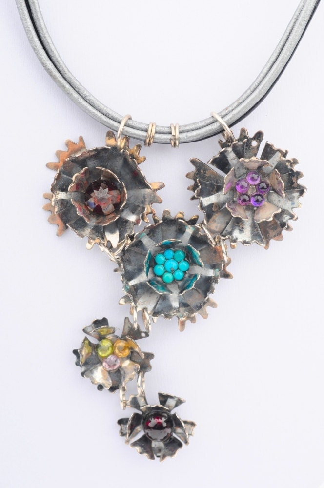 "Turquoise, Zircon, Garnet, Leather and Silver Necklace - ""Carnation Bouquet"""