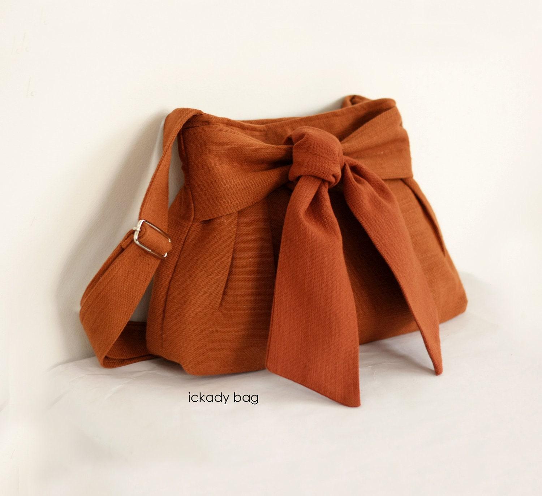 SALE - Cute Bag / Cute Purse / Small Cross body Bag / Day Bag in Burnt Orange Hemp Cotton / Bow / Passport bag - ickadybag