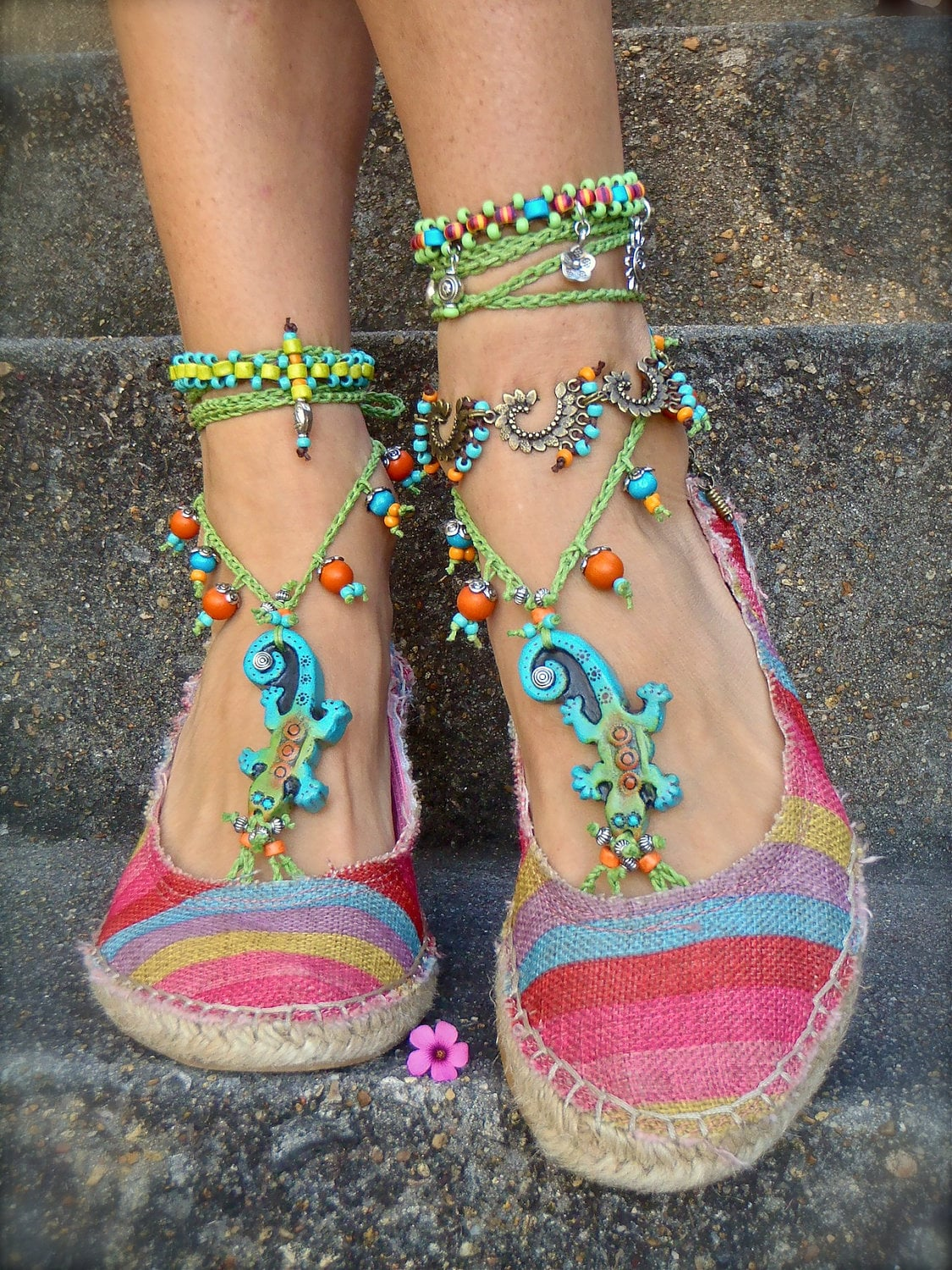 GECKO BAREFOOT SANDALS lizard jewelry gecko jewelry Crochet sandals Anklets animal totem