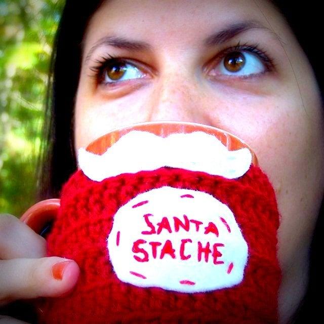 Santa Stache funny coffee mug cozy handmade