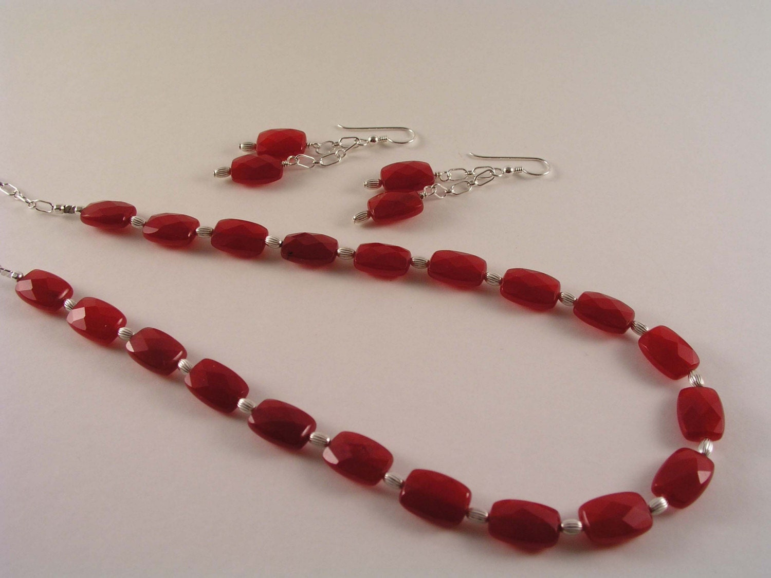 LADY IN RED..Red Ruby Jade and Sterling Silver Necklace and Earring Set
