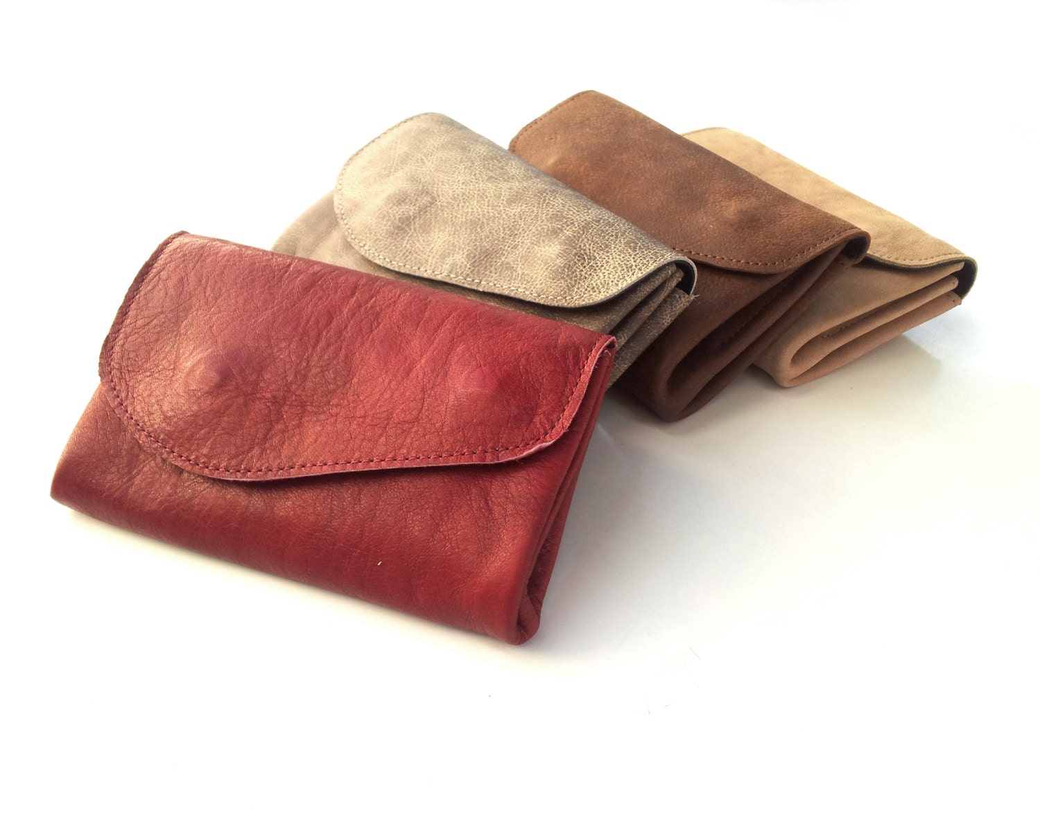 Nude wallet, Women leather purse, leather clutch, coins wallet - TahelSadot