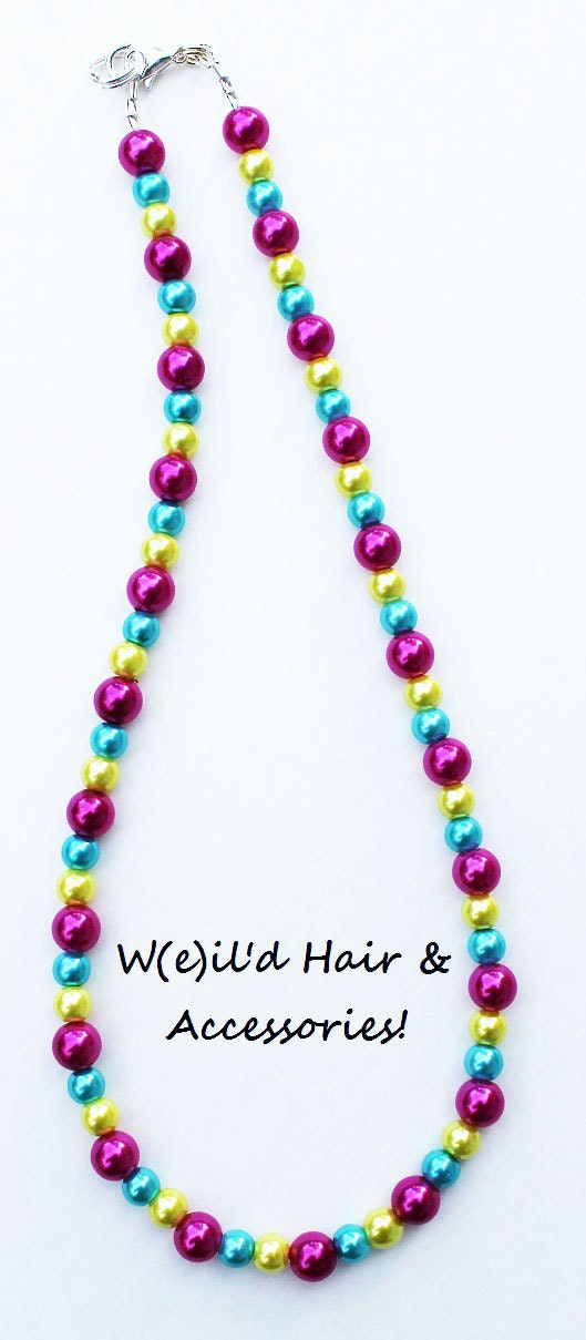 Confetti Dainty Pearls Necklace - Hot Pink, Aqua, Yellow - Bubblegum Beads - Child - Photo prop, photography - WeildHairAccessories