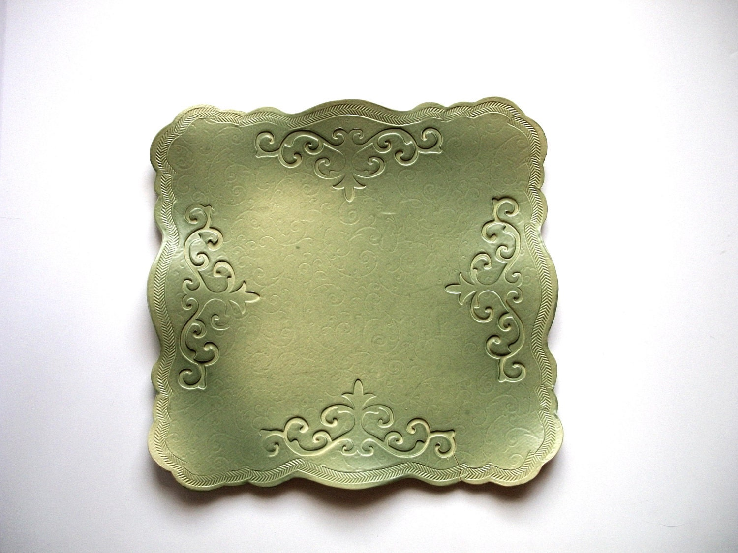 Light Avocado Scroll Serving Platter - CatsPawPottery