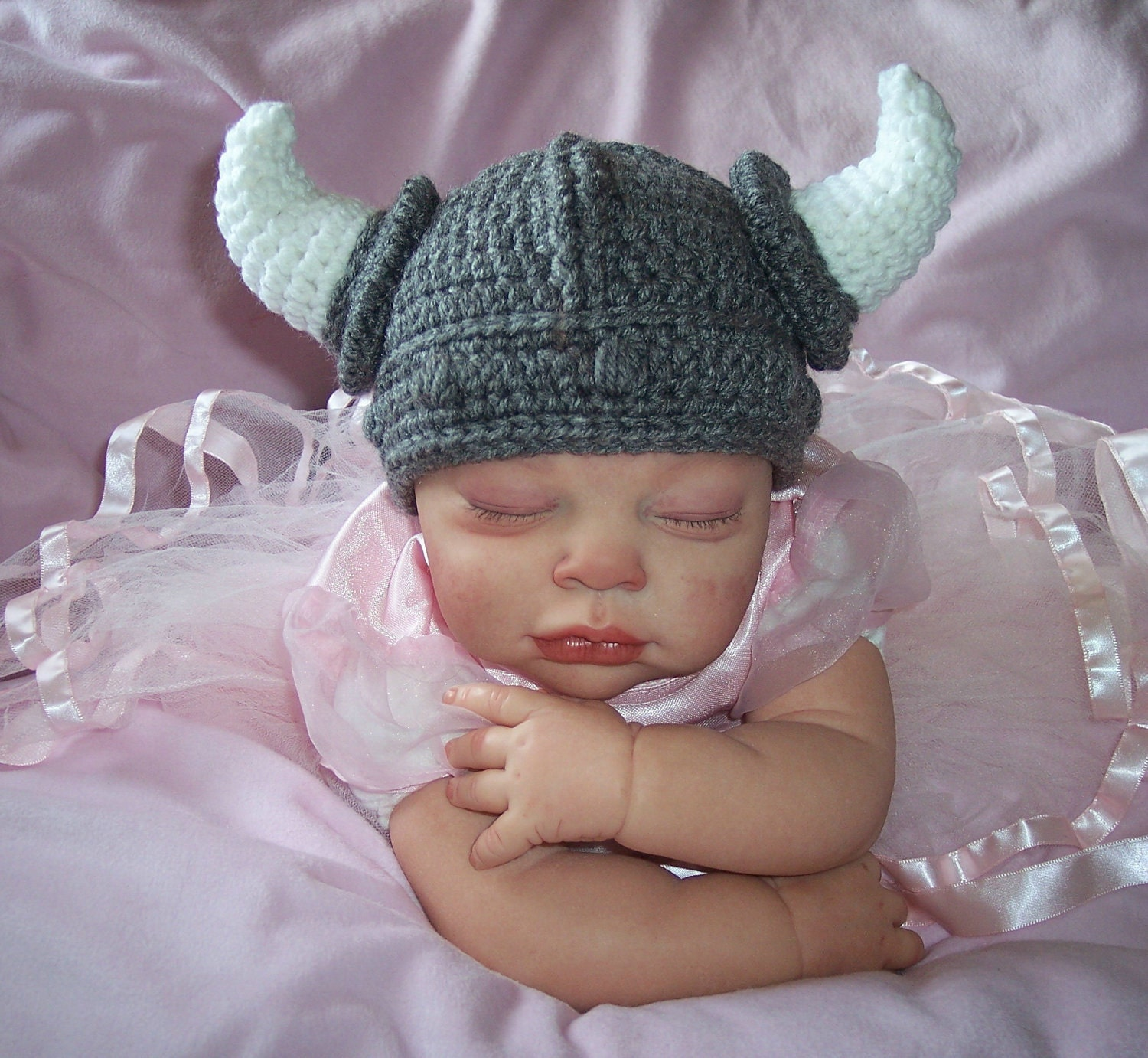 Viking HAT Silver Gray Newborn - 4T Crocheted Photo Prop Gift Custom Made Baby Clothes Boy Girl