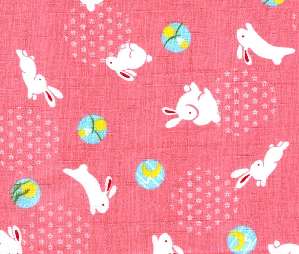 Snow Bunnies On Pink - Japanese Fabric Half Yard Dobby Weave