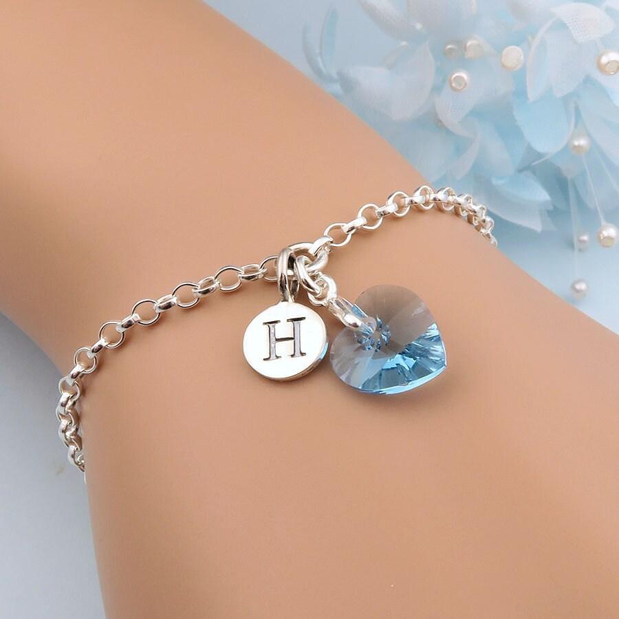 Crystal Heart Bracelet Personalized Birthstone Bracelet Heart Bracelet Custom Initial Bracelet Silver Initial Jewelry Aquamarine