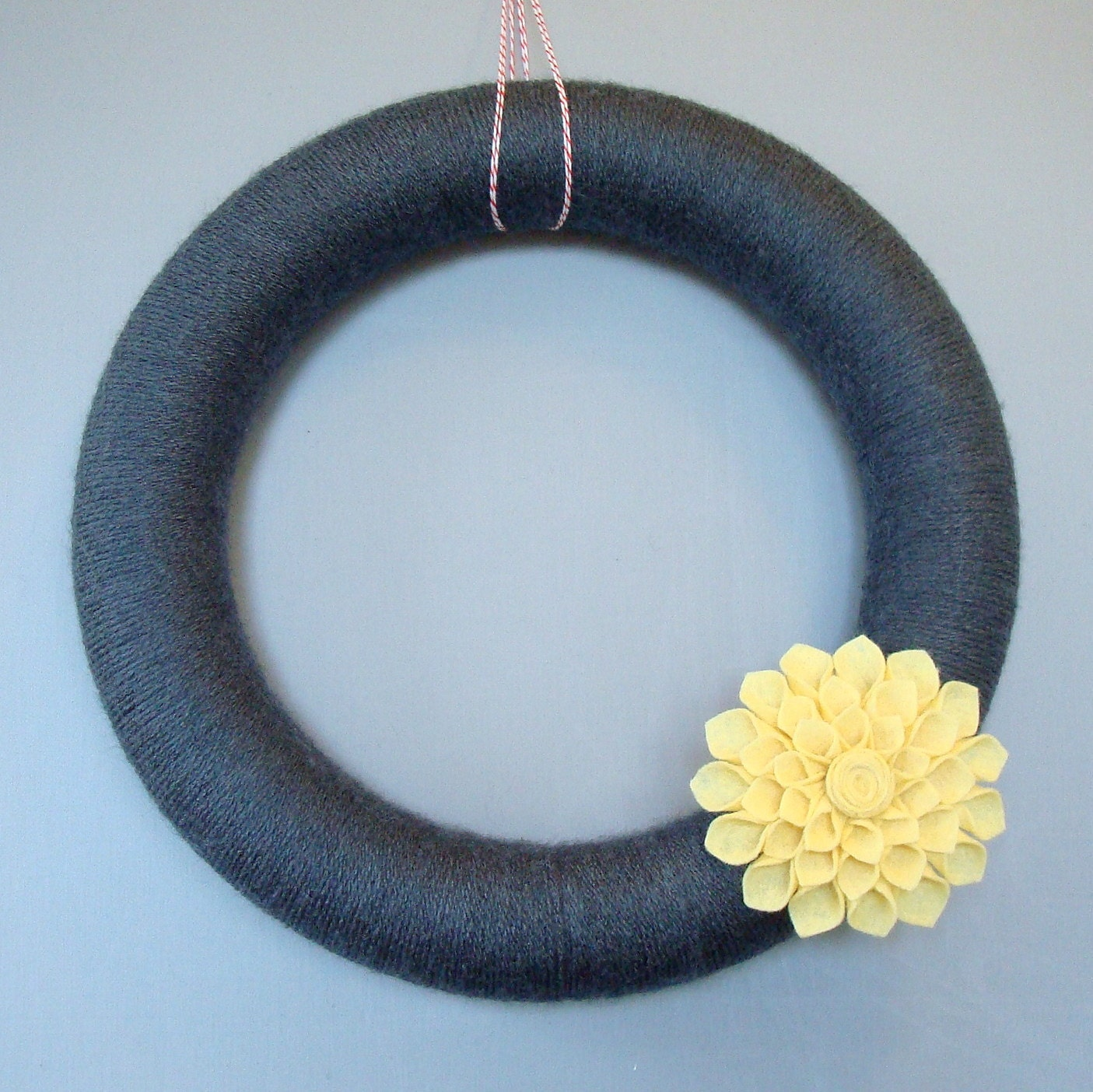 "Grey Yarn Wreath, gray and yellow wreath door, perfect for fall.  12 ""Coal is a wreath with a pale yellow flower dahlia felt."