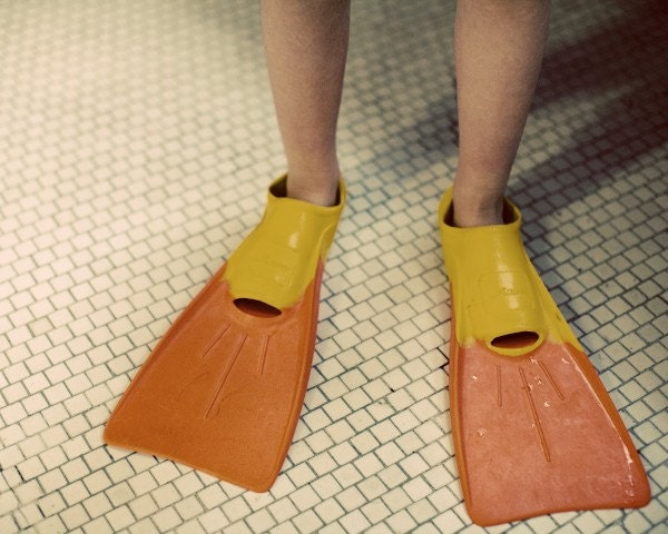 swimmer - child with red and yellow flippers standing on a tiled floor dripping wet Fine Art Print - janeheller