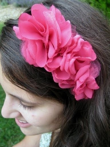 ANGELA GOSSIP GIRL STYLE Shocking Pink Chiffon with Tulle Rosettes Fascinator Headband for Weddings, special occasion, homecoming, Bridesmaids