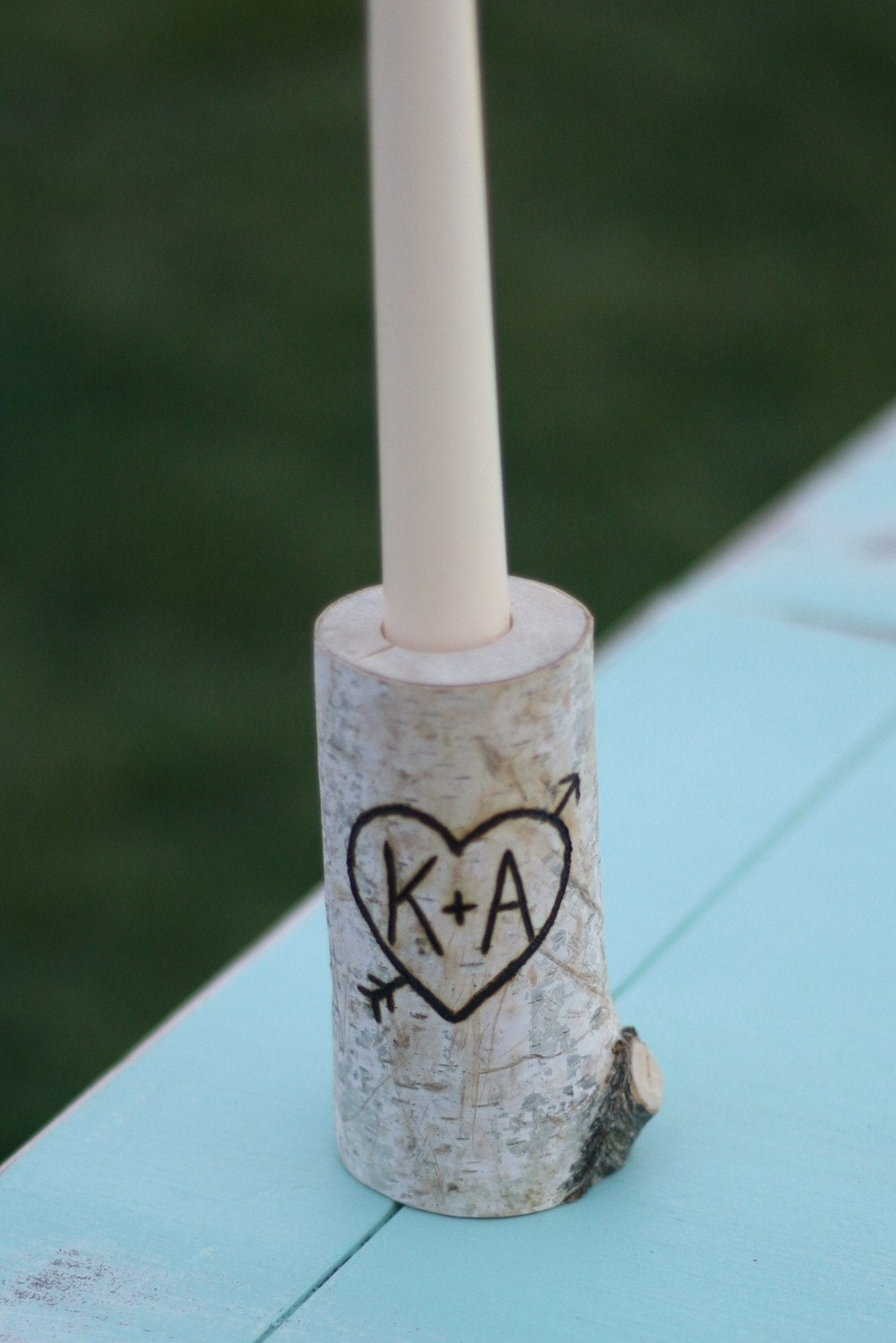 Items similar to birch bark log taper candle holder custom for Log candle holder how to make