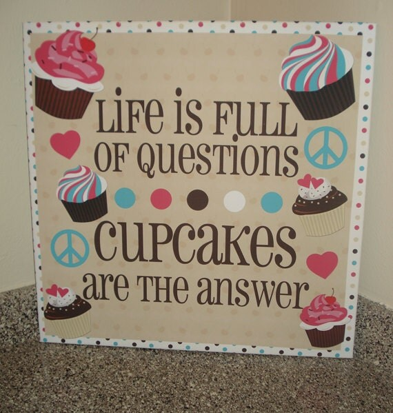 Cake Art Quotes : Large 22x22 Cute Cupcake Canvas Heart Peace Quote by ...