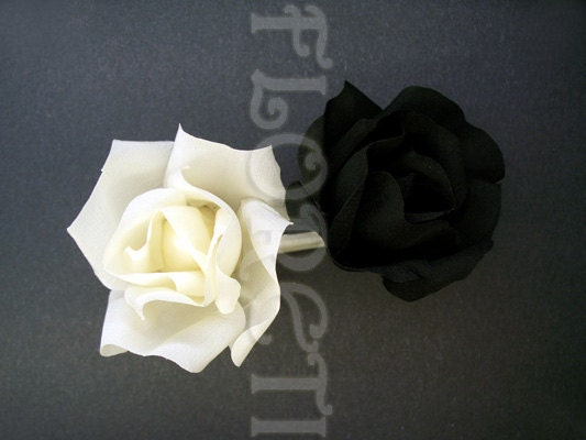 Ivory Black Small Rose Duo Hair Clip Wedding Veil Accessory by Floreti from etsy.com
