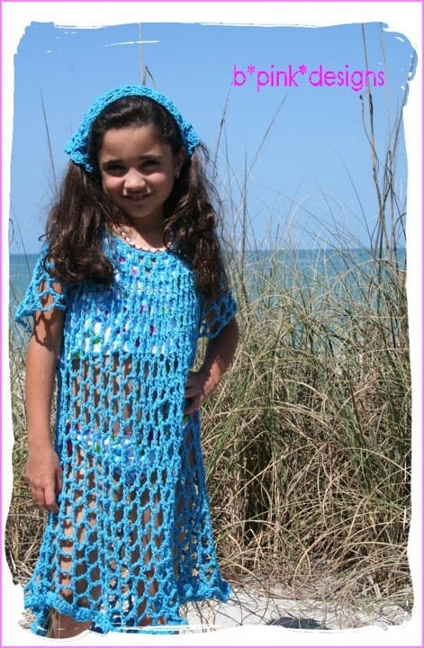 Etsy :: CUSTOM CROCHET GIRLS BEACH/SWIMSUIT COVERUP AND HEADSCARF - POOL BLUE - SIZE 3/4 5/6 7/8 - ETSYKIDS