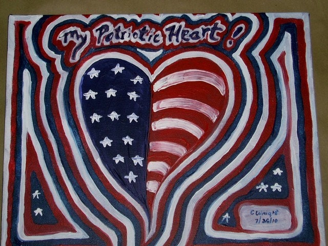 My Patriotic Heart 16x20 original acrylic painting on canvas FREE USA SHIPPING