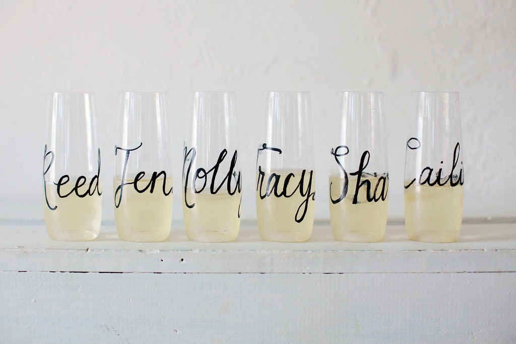 Personalized Stemless Champagne Flutes, Glass or Plastic Wedding Calligraphy for Bachelorette Party, Wedding, Shower, New Years - RachelCarl