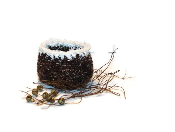 Woodland Brown Wool Cache Pot With a White Cuff - cozylittlecorner