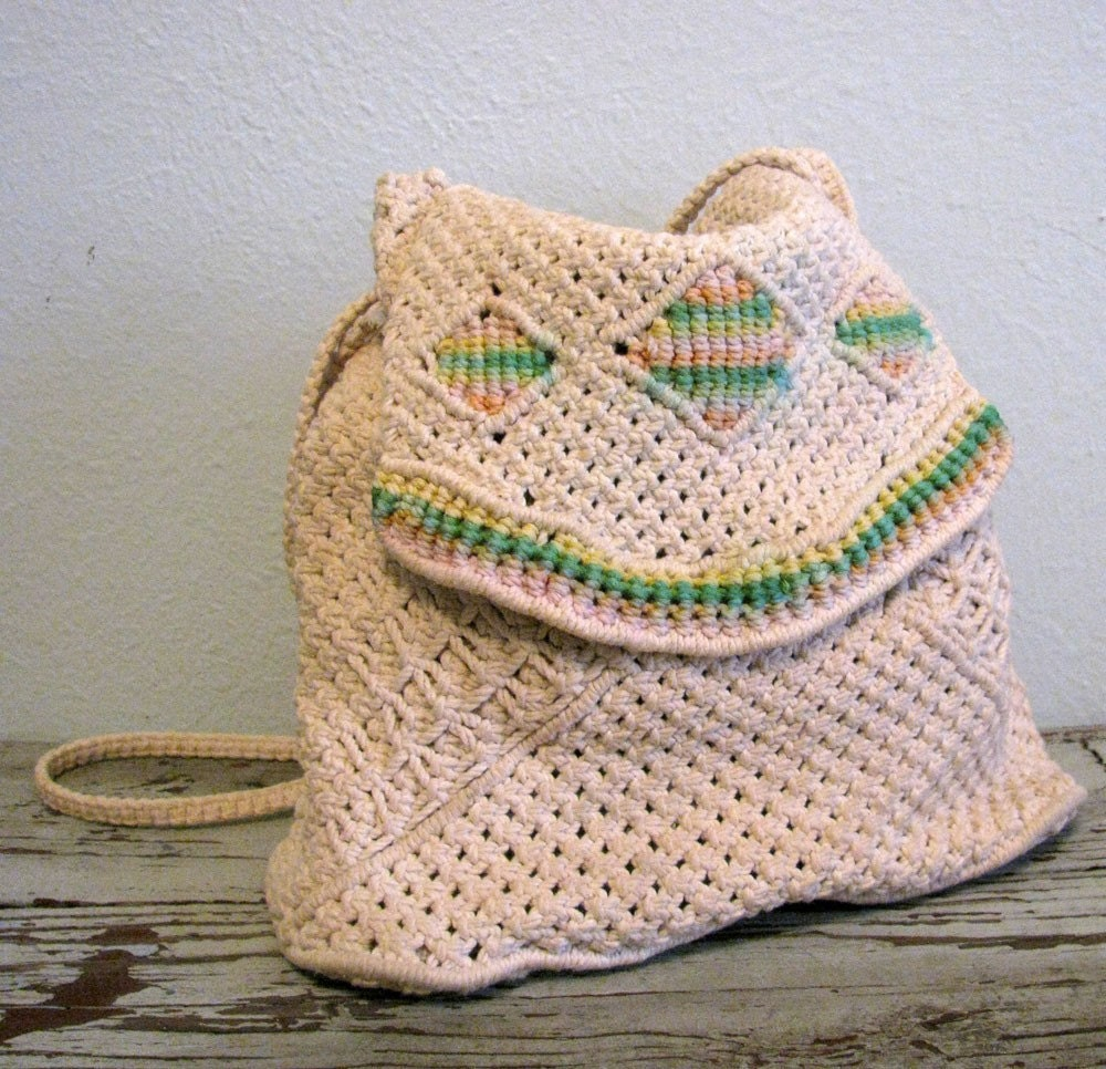 vintage ADELE Handmade Crochet Purse and Backpack