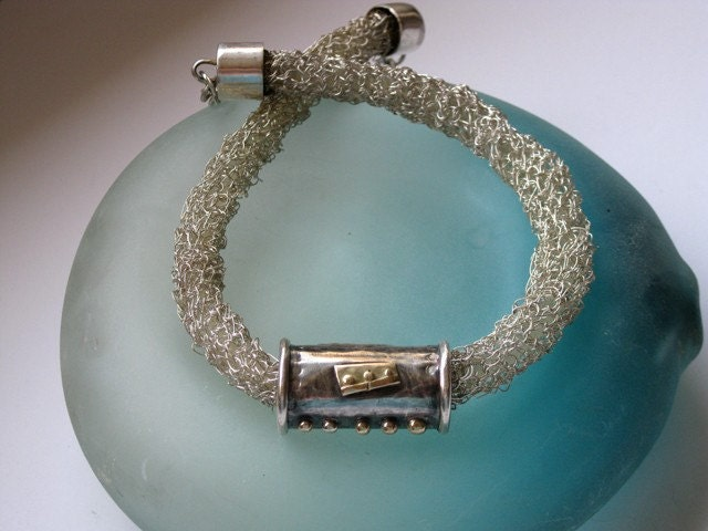 Crochet Fine Silver Necklace and Tube pendant