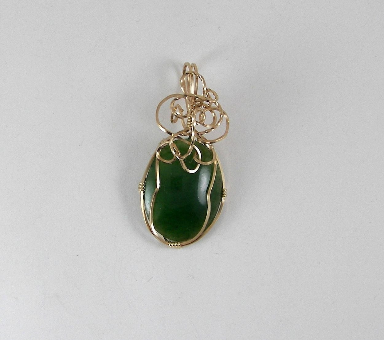 RESERVED - Gold Wire Wrapped Jade Pendant