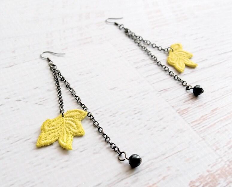 Lace Dangle Earrings - Netia - Yellow Leaf Jewelry - branchbound