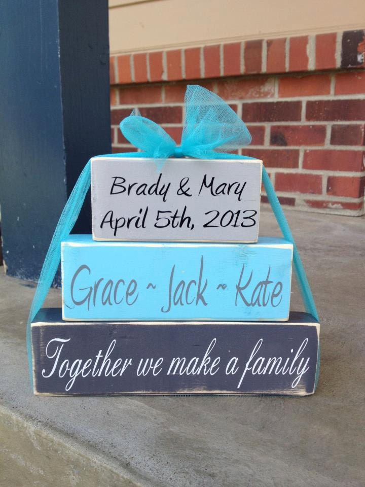 Wedding Gift Ideas Blended Family : Blended family wood block set family names date and saying parents ...