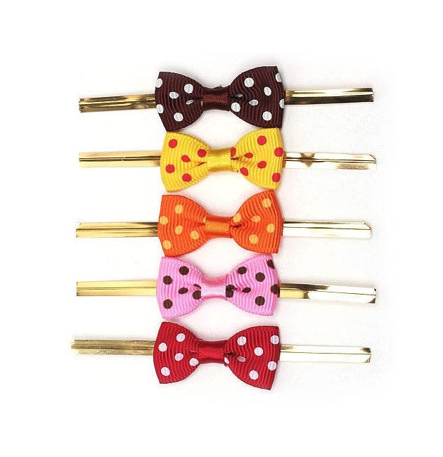 Polka Dot Ribbon Twist Ties - set of 30 (6colors)